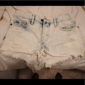Acid wash high waisted white denim shorts